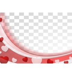 Red wavy abstract background with hearts vector