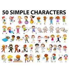 Fifty simple characters young and old vector image