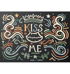Kiss me Hand drawn vintage print vector image