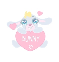 Bunny with heart shaped sign vector