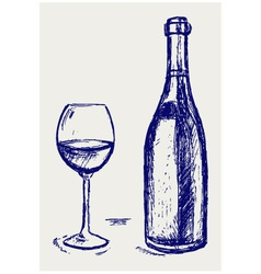Glass of wine and bottle vector