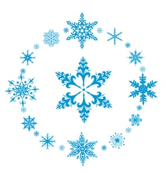 Rounded decorative snowflakes vector
