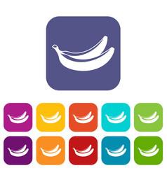 Banana icons set vector