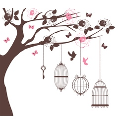 bird cage tree vector image vector image