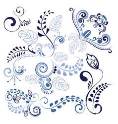 Blue floral ornaments vector