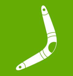 Boomerang icon green vector