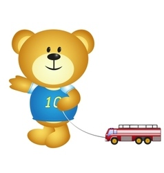 Boy Bear Cartoon Playing Toys vector image vector image