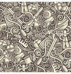 Cartoon doodles manicure seamless pattern vector