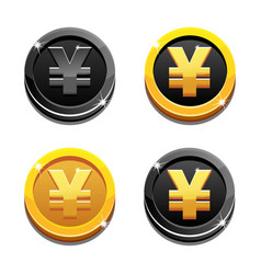 cartoon set golden and black yen coin yuan symbol vector image vector image