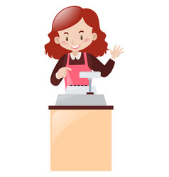 cashier working behind the desk vector image vector image