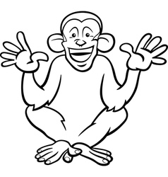 Chimpanzee ape cartoon coloring page vector