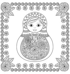 Coloring book - russian matrioshka doll vector