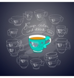 cups handwritten words Keep Calm and Drink vector image vector image
