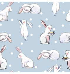 cute seamless pattern with watercolor rabbits vector image vector image