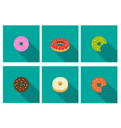 donut icons in flat style vector image vector image