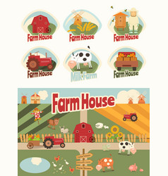 farm house set vector image vector image