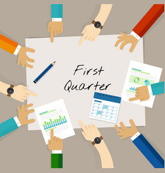 First quarter business report target corporate vector