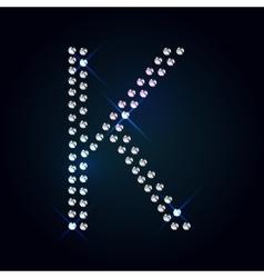 Gems k letter shiny diamond font vector
