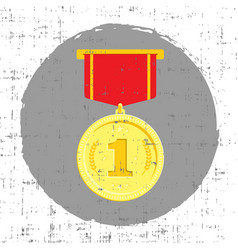 Gold medal with grunge effect vector