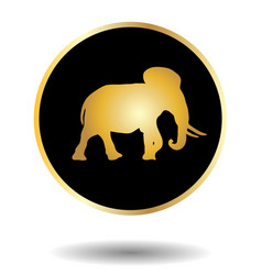 Golden and black icon with elephant isolated on vector