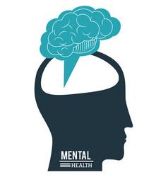 Human head brain mental health progress vector