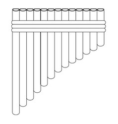 Isolated panflute outline vector