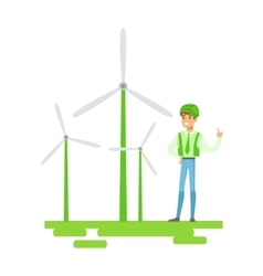 Man in hard hat standing next to wind power vector