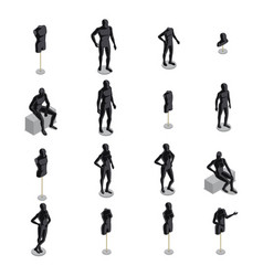 Mannequins isometric set vector