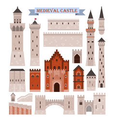 medieval castle parts like gates walls towers vector image vector image