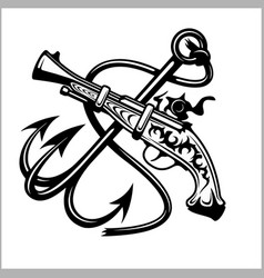 Pirate emblem - anchor and pistol - vector