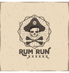Pirate skull insignia or poster rum label design vector