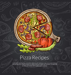 pizza rozmarine pepper and pepperoni hand vector image vector image