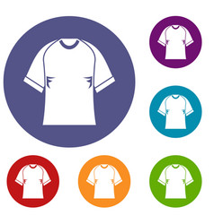 Raglan tshirt icons set vector