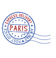 round blue and red postmark paris france vector image vector image