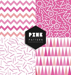 Seamless pattern set pink shape elements geometry vector