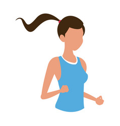 Sport girl jogging exercise health vector