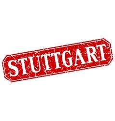 Stuttgart red square grunge retro style sign vector