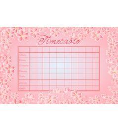 Timetable weekly schedule with sakura school timet vector