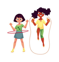 Two girls playing with jumping rope and hula hoop vector