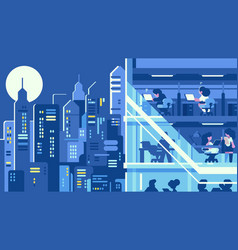 Working in night office vector
