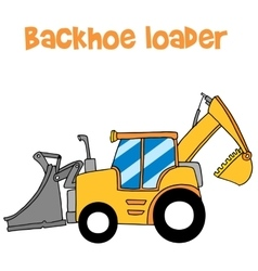 Yellow backhoe loader art vector