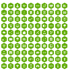 100 it business icons hexagon green vector image vector image