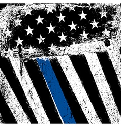 American flag with thin blue line grunge patriotic vector
