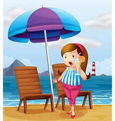 A fat lady holding a glass of juice at the beach vector image