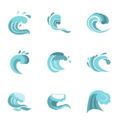 big blue tide icons set flat style vector image
