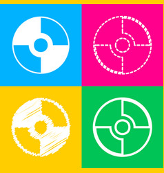 cd or dvd sign four styles of icon on four vector image