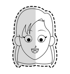 Happy girl kid or child with short hair icon imag vector