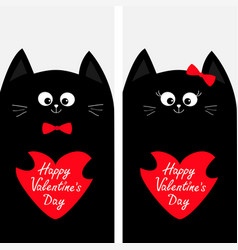 Cat family couple holding red heart shape paper vector
