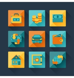 Set of business icons in flat design style vector