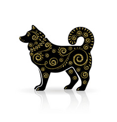 Stylized dog with gold ornament vector